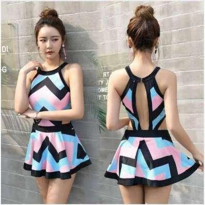 New One pieces Skirt  striped Swimwear