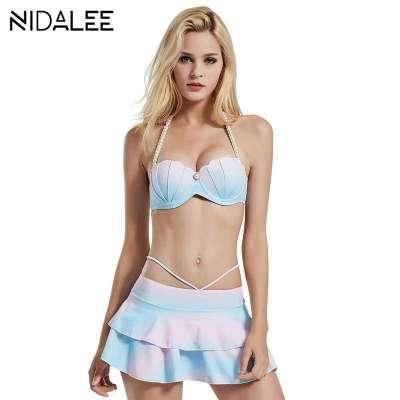 Beach Dress Bikini Set Suits Retro Biquini For Girl Ladies Swimwear
