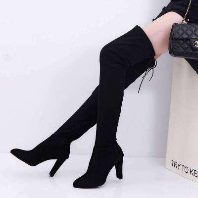 3 color knee high suede heel boots
