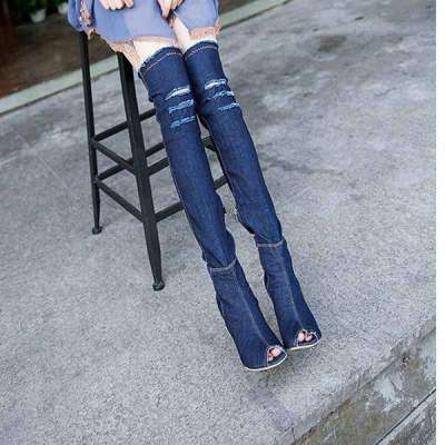 Denim over knee boots with peep toe