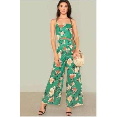 Flower Print Wide Leg Cami Jumpsuit