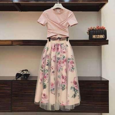 jenner Summer Irregular Cross Bow Tie T-shirt Retro Flower Print Long Gauze Skirt Two Piece set