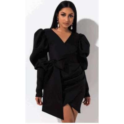 V-neck Puff Sleeve Tie Slim Dress Woman