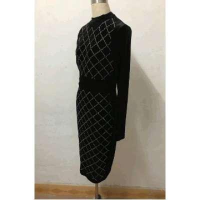 women long sleeve geometric hot drilling open back velvet bodycon knee length party midi dress