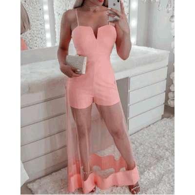 Women V-Cut Spaghetti Strap Mesh Romper Mesh Sheer Patchwork  Elegant Ladies Pink Jumpsuit