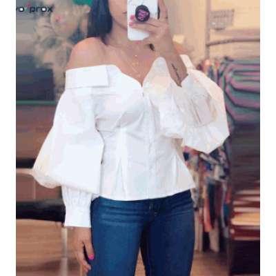 Elegant Blouse Casual Solid Slash Neck Streetwear Spring Fall Shirts