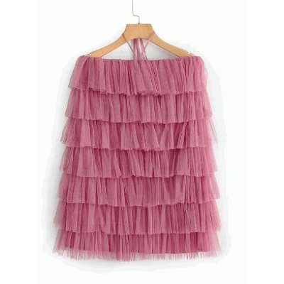piyali ruffled mesh layered dress