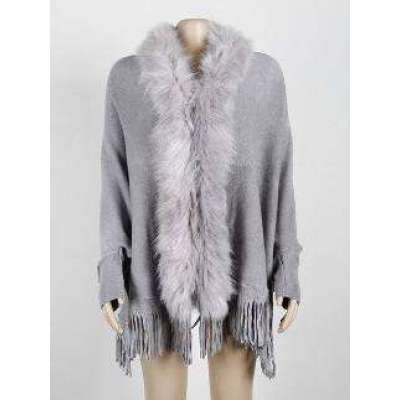 Marla women sweater fur cape cardigan Ponchos cashmere poncho with fur winter new loose Solid plus size Tassal Long cape