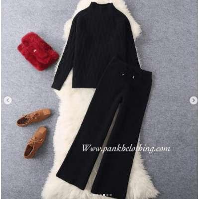 Yaish wool knit coord track warm Travel set
