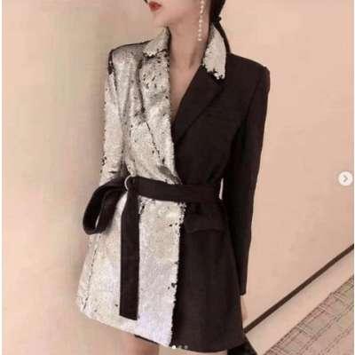 Rusty half and half sequin blazer dress