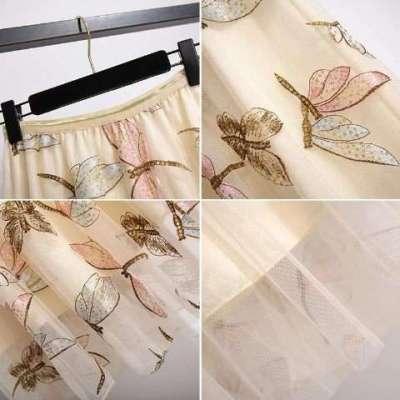 Zetah sequin Embellished party wear net skirt