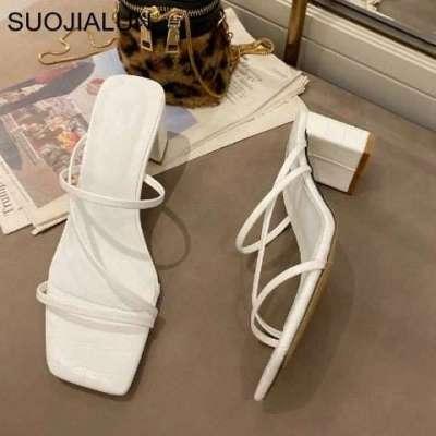 Narrow Band Cross-tie Women Sandals Vintage Square Toe Slipper Sandals