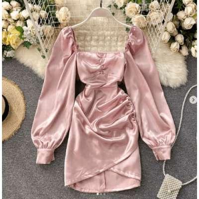 Delsa Satin daywear evening wear party Dress