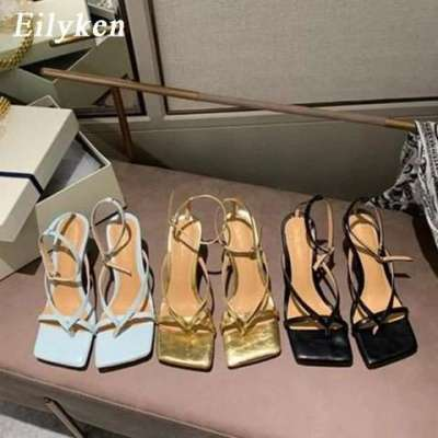New Fashion Pinch Narrow Band Women Gladiator Sandal Ladies Square Open Toe Ankle Buckle Strap Stiletto Heels