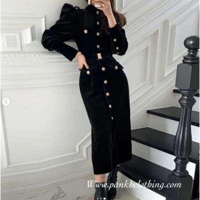Lucy Velvet Button Down Dress