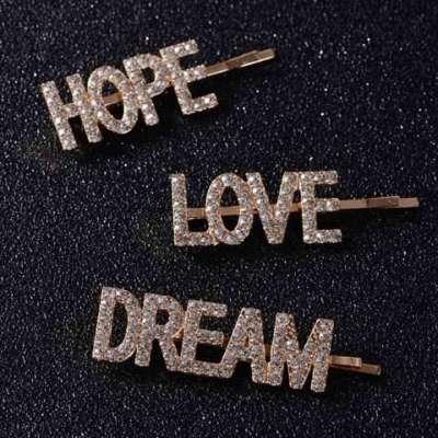 3 Pcs/set LOVE HOPE DREAM SWEET Letter Crystal Hair Clips For Ladies Girl Wedding Rhinestone Headwear Pins Beauty
