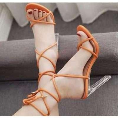 gladiator orange sandals srap block clear heels tie up sandals