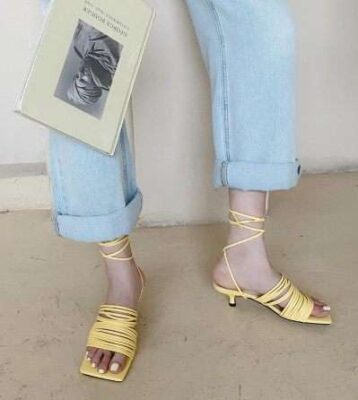 Narrow Band Slippers Thin Low Heels Slides Square Open Toe Slippers