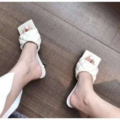 Square Toe Sewing Fashion Slides Slip On Mid Thin Heels Mule Shoes Gladiator Light Color Slippers