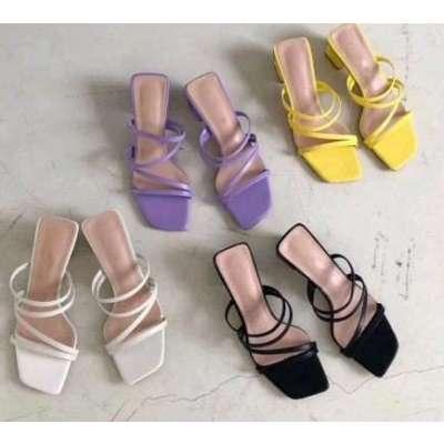 Slipper Low Heel Slides Female Peep Toe Square Heel Sandal