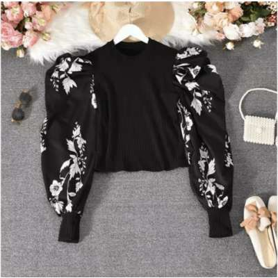 Floral drama on sleeve blouse