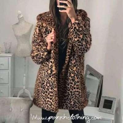 Lauri leopard long fur coat winter jacket