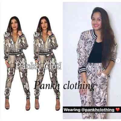 Snake Skin Print Jumpsuit Women Two Pieces Combinaison dress