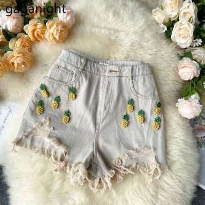 pineapple embellished shorts