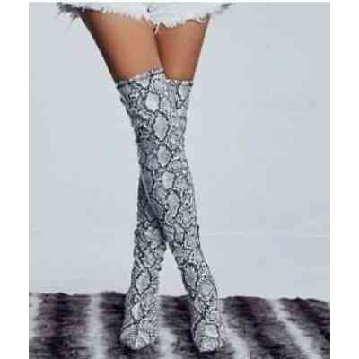 Women's Shoes Large Size Snake Print Lady Boots