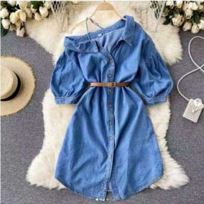 Miranda cotton and denim off shoulder dress with belt