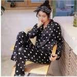 Heart Print Satin Night Suit