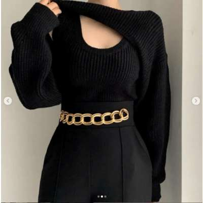 Alaska Knit Top with Cropped Sweater Sleeve set