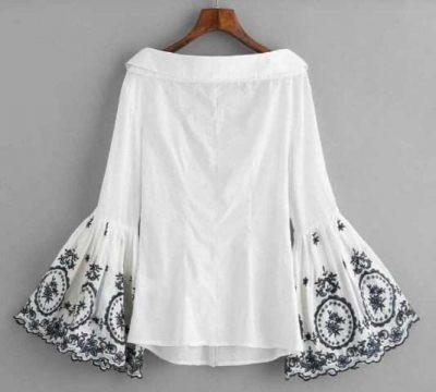 Monte Embroidered formal semi formal cotton off shoulder bell sleeve shirt