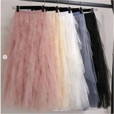Merlo Ruffle Mesh Net Skirt