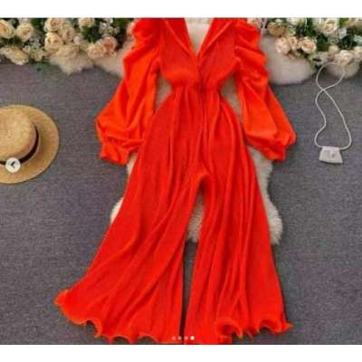 Chan Pleated and Flounced summer Jumpsuit