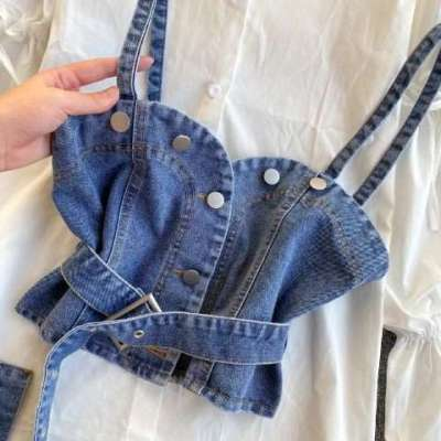 Zesha Cotton White shirt with denim corset