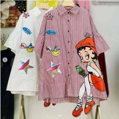 Doll Cotton Loose Style long Shirt