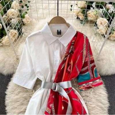 SAHIRA  shirt dress with scarf Vintage plus size Print Shirts Dress with belt
