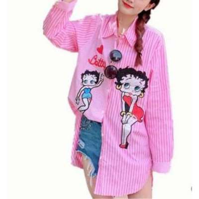 Dolly casual cotton embroidered patched long shirt