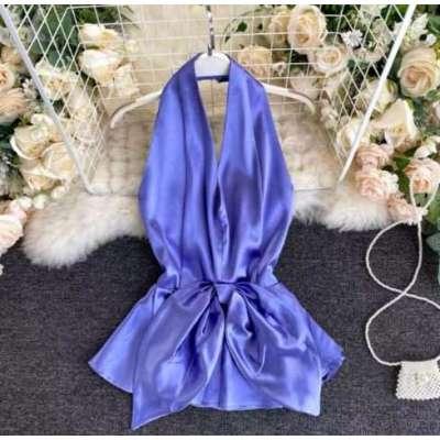 Meig satin enening wear party wear halter blouse
