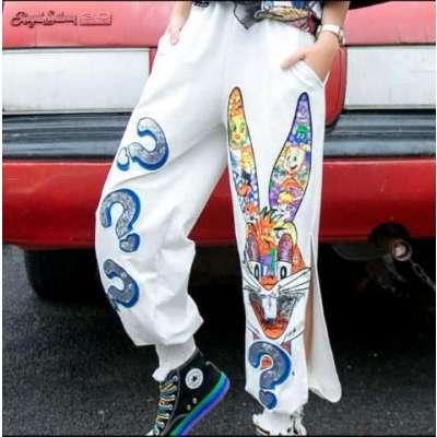 mui high fashion loony embellished casual funky pants