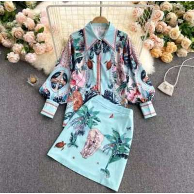 Quest tropical print skirt and shirt coord set