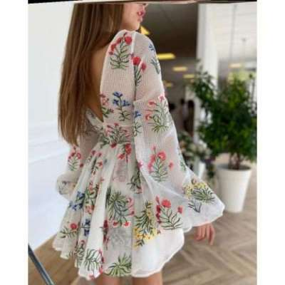 Audrey Floral embroidered High Fashion dress