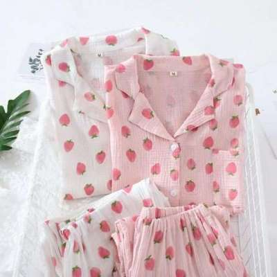 Strawberry pure cotton night suit