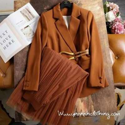 Aubree summer coat and skirt coord formal set with belt