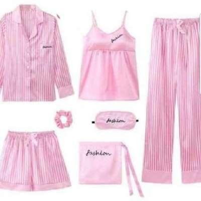 Lola 7 piece night wear satin night suit set