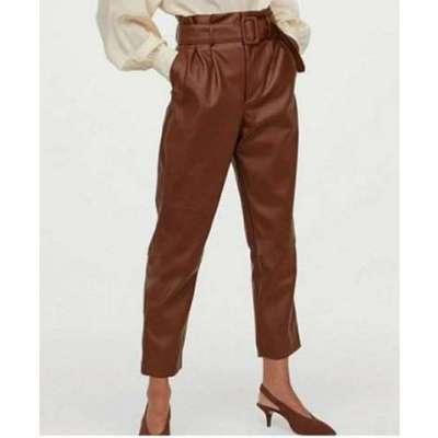 Gaza PU Leather High Waist Pants Trousers