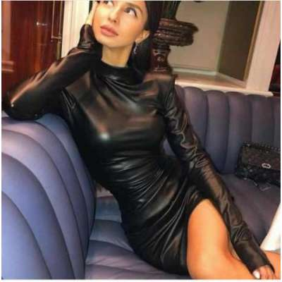 Mosta Leather ruching dress