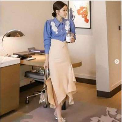 Noir power dress up formal blouse and Skirt set